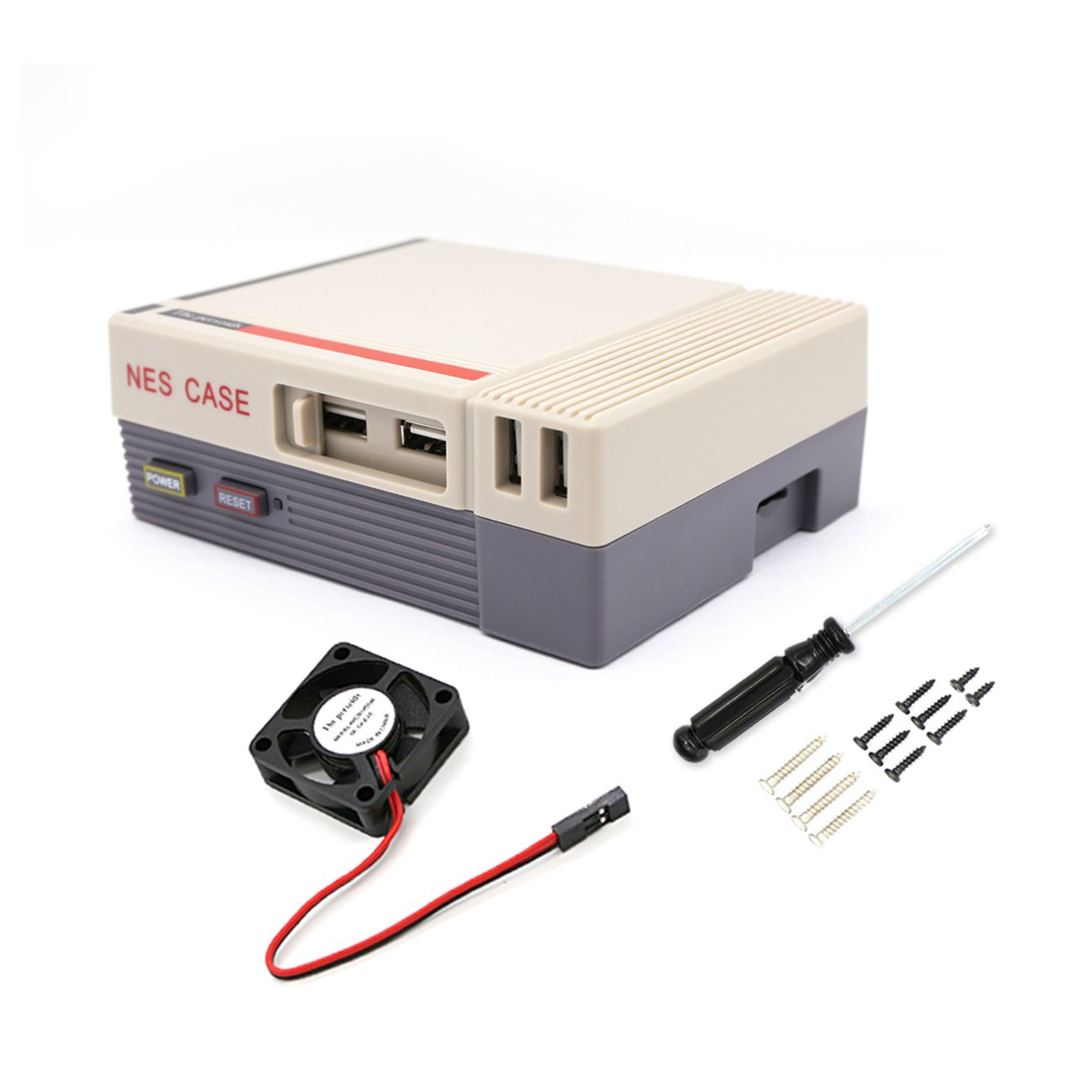 YIKESHU NES CASE with Brushless Cooling Fan Functional Power Reset Button Retroflag NESPI CASE Rasberry Pi 3, 2 B+ (Grey case)