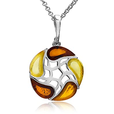 Multicolor Amber Sterling Silver Large Pendant Necklace Chain 46 cm ioSgCAD