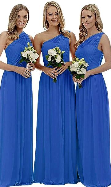 db37782c248 Staypretty Bridesmaid Dresses for Women Long One Shoulder Asymmetric  Chiffon Prom Evening Gown Blue 2