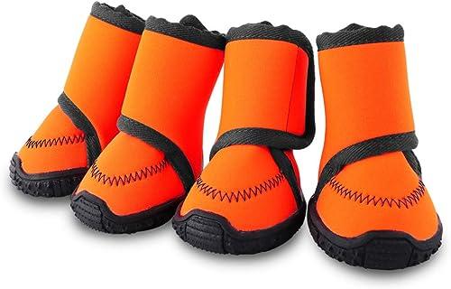 Petbobi-Waterproof-Dog-Shoes-Fluorescent-Orange-Dog-Boots