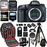 Canon EOS 7D Mark II Digital SLR Camera Body Wi-Fi Adapter Kit, Sandisk 64GB Card, Ritz Gear Camera Backpack, Polaroid Flash, and Accessory Bundle