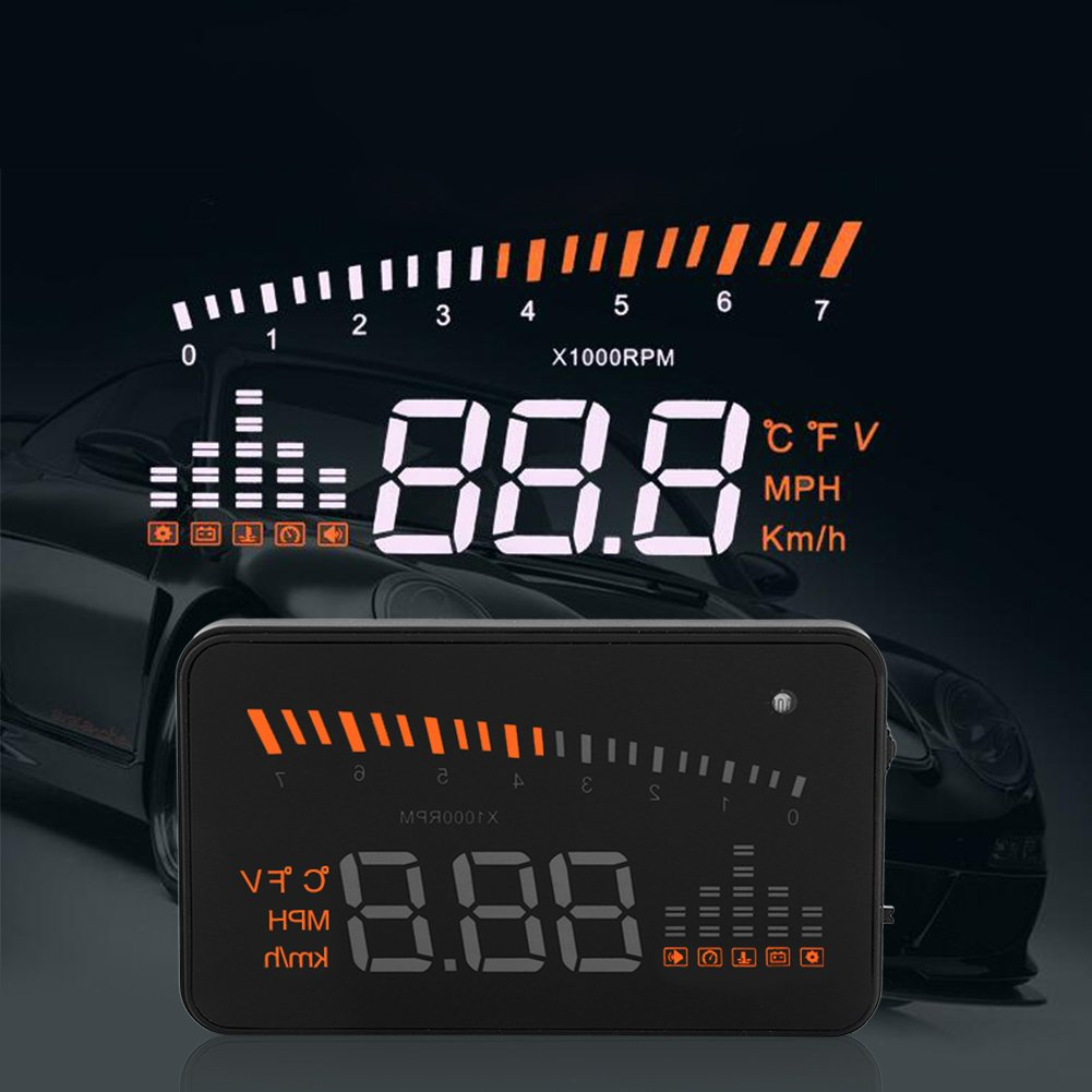 3'' Car HUD Head-Up Display Colorful Dashboard Projector Speed Warning System with OBDII/EUOBD Interface Vehicle Speed MPH/KPM