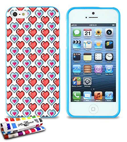 Ultraflache weiche Schutzhülle APPLE IPHONE 5S / IPHONE SE [Pixel - doppelt herz] [Blau] von MUZZANO + STIFT und MICROFASERTUCH MUZZANO® GRATIS - Das ULTIMATIVE, ELEGANTE UND LANGLEBIGE Schutz-Case fü