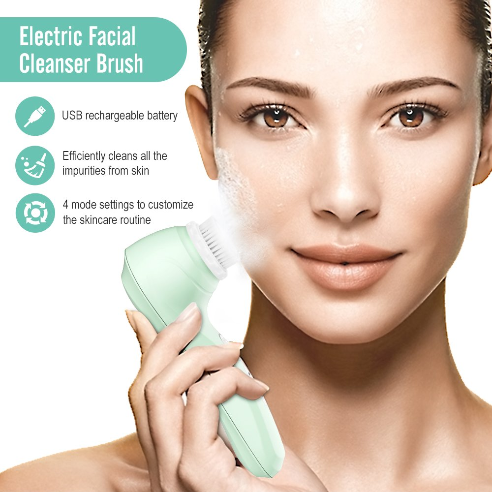 Electric Vibrating Sonic Facial and Body Cleansing Brush Face Brush Waterproof Skin Exfoliating Cleansing System for Deep Cleaning 4 Mode Settings with 3 Brush Heads