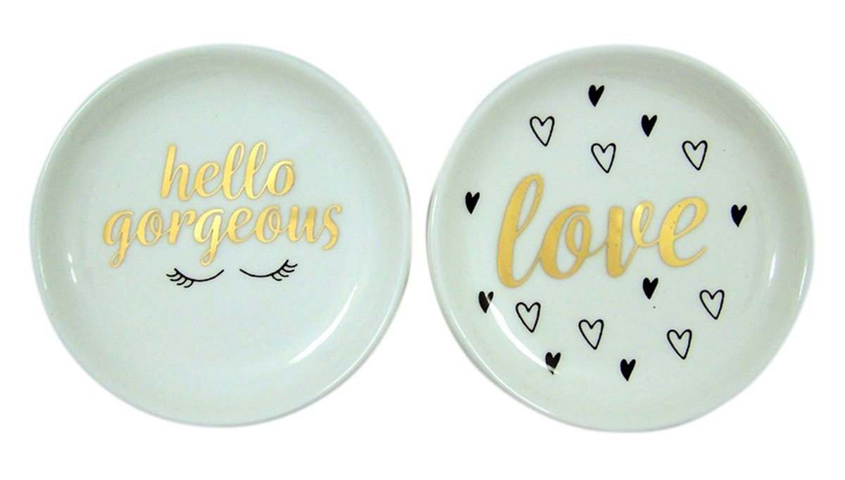 Needzo Religious Gifts Set of 2 Hello Gorgeous and Love Round White Ceramic Jewelry or Change Dish
