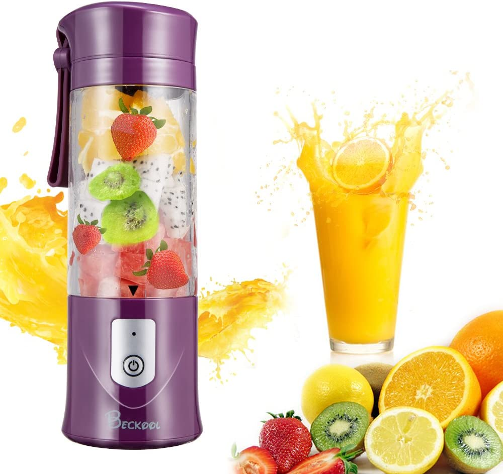 Personal Juicer Blender, Travel Portable USB Mixer Juice Cup with Updated 6 Blades and More Powerful Motor, 13Oz Water Bottle, 4000mAh Rechargeable Battery, Purple