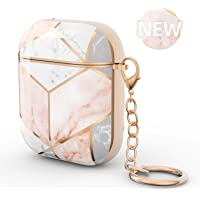 AirPods Case, Xmifer Airpod Case Cover Cute Rose Gold Marble Protective Case Hard TPU AirPod Accessories for Apple AirPods 2/1 Charging Cases with Keychain Stylish Gift for Girls & Women (Marble Pink)