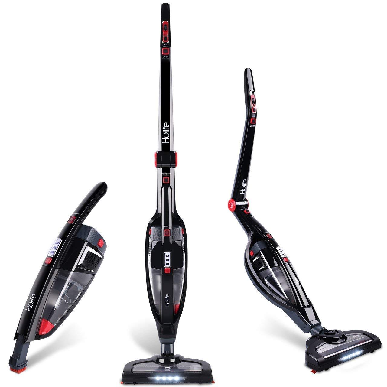 Holife Cleaner 2 en 1 - Aspirador de Mano Vertical sin Cable Recargable sin Bolsa con luz LED, estándar: Amazon.es: Hogar