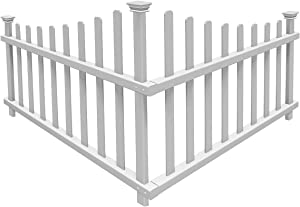 "Zippity Outdoor Products ZP19007 No-Dig Vinyl Corner Picket Unassembled Accent Fence, 42"" x 30"", White (Pack of 3)"