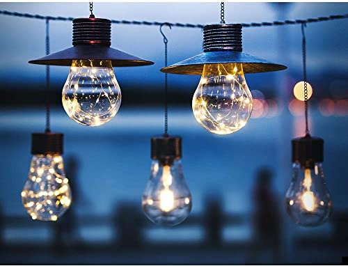 Solar Lantern Outdoor Hanging Light, Waterproof Vintage Solar Garden Lantern Lights with Warm White Edison Bulb Design for Garden Yard Patio Decor