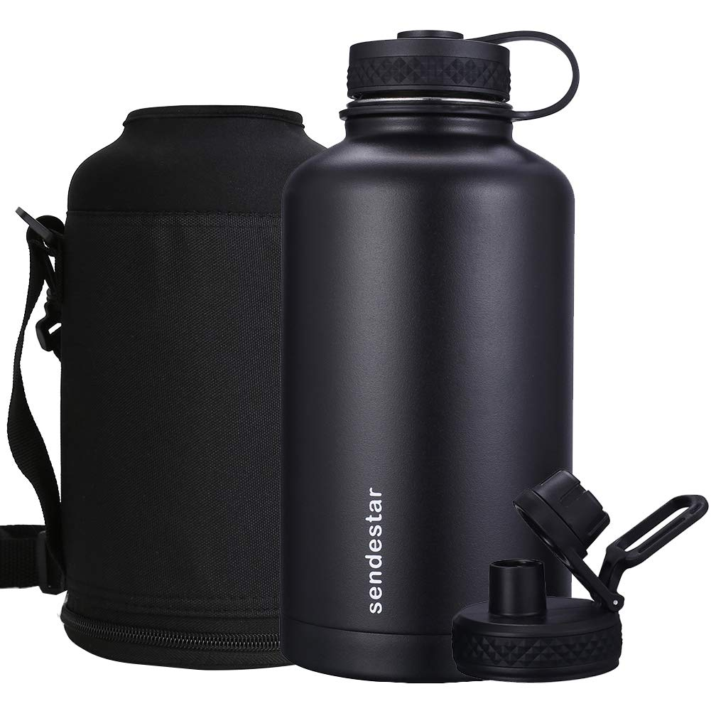 Sendestar 64 oz Beer Growler Double Wall Vacuum Insulated Leak Proof Stainless Steel Water Bottle —Wide Mouth with Flat Cap & Spout Lid Includes Water Bottle Pouch (Black)