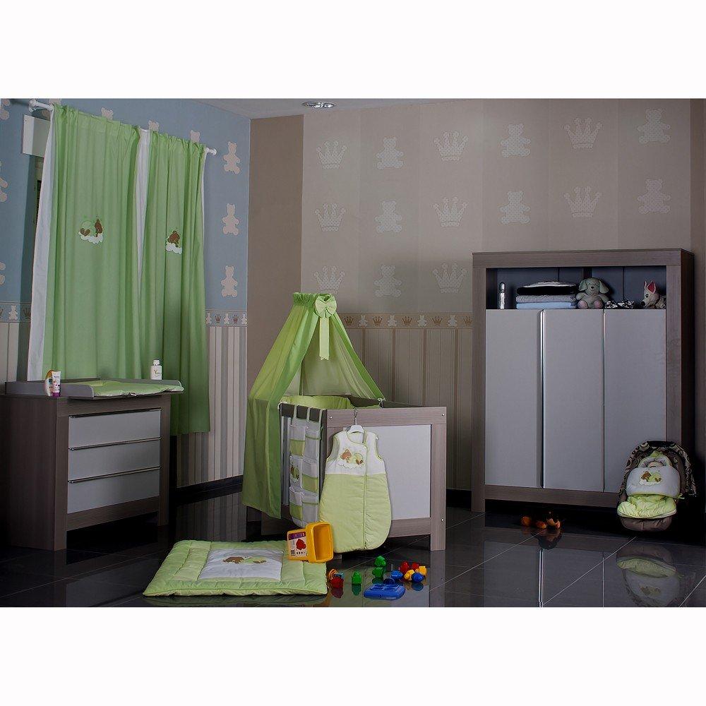 19 Tlg. Bett-Set Sleeping Bear grün + Babyzimmer Felix in Akaziengrau mit 3-türigem Kleiderschrank