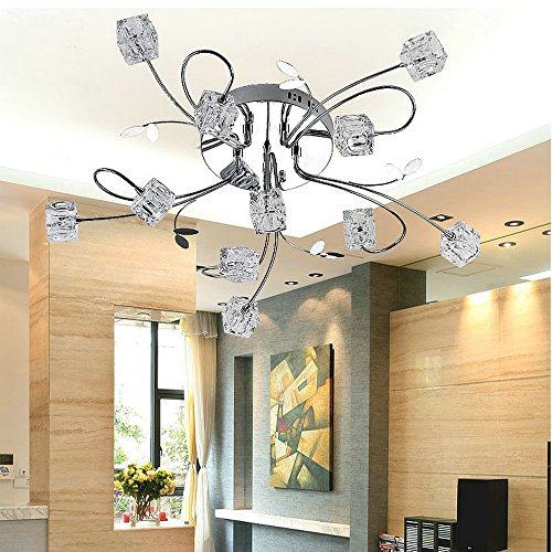 DINGGU™Chrome Finish Flush Mounted Modern LED Chandelier Ceiling Lights Included 11 LED Bulbs and Dimmable Remote Controller