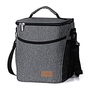 Lifewit Insulated Lunch Box Lunch Bag for Adult Women Men Kids, Large Capacity Thermal Bento Bag for Office / School / Picnic, 9L, Grey