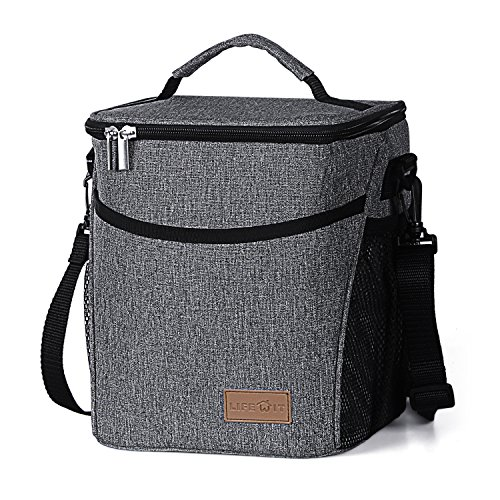 Lifewit Insulated Lunch Box Lunch Bag for Adults / Women / Men, Large Capacity Thermal Bento Bag for Office / School / Picnic, 9L, Grey