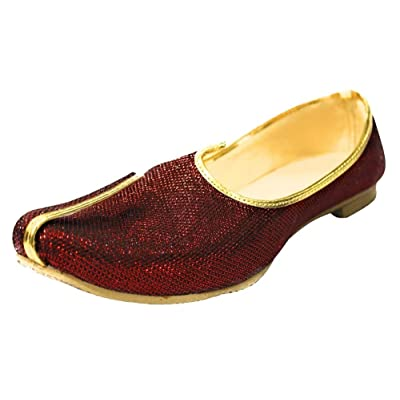 Step n Style Mehroon Glitter Traditional Handmade Sherwani Groom Khussa Jutti Men mojaries Loafers for Mens | Loafers & Slip-Ons