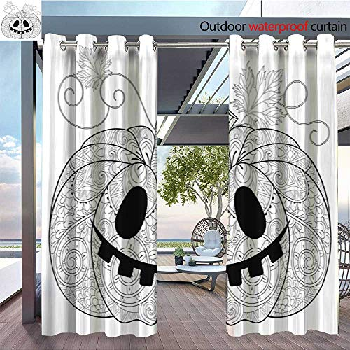 (QianHe Dance Outdoor Indoor Curtain - Pumpkin-for-Halloween-Thanksgiving-Day-with.jpg Waterproof Patio Curtain W108 x)