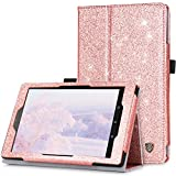 BENTOBEN Case for Fire HD 8 (2017 and 2016 Release,7th/6th Generation) Glitter Sparkly Folio Folding Stand Cover with Stylus Holder & Auto Wake/Sleep Bling Smart Case for Fire HD 8 Tablet,Rose Gold