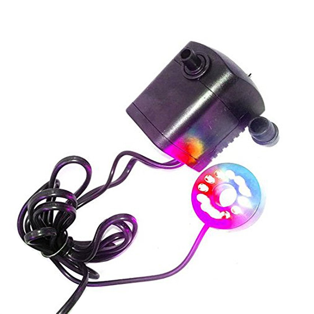 Shineus 15W 700L//H Submersible Water Pump with 12 Color LED Light for Fountain Pool Garden Pond Fish Tank Aquarium Water With Plug