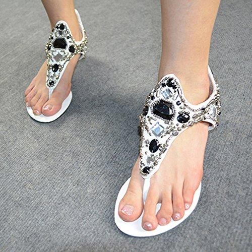 Mujer Plana Sandalias Zapatos Con Cuña Bohemia Adorno De Rhinestone Sandalias De Playa Clip Toe Zapatos Blanco