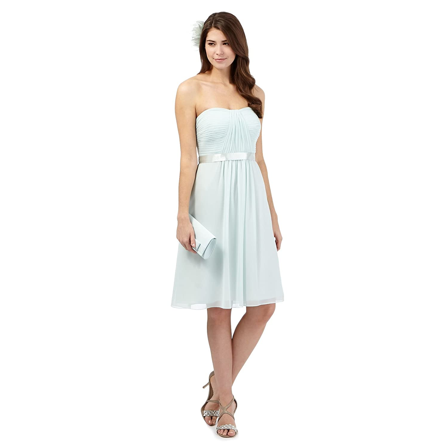 Debut Womens Green Ruched Dress