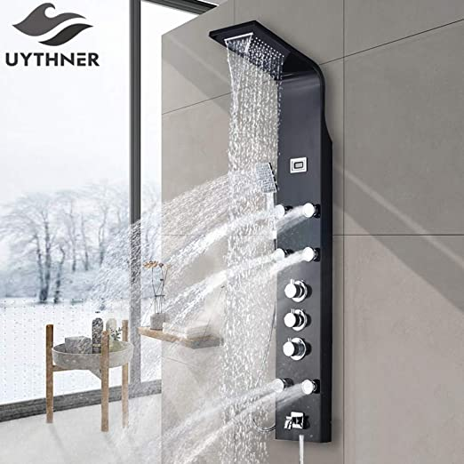 QKEMM Grifo de Ducha de baño Negro termostático Columna de Panel ...