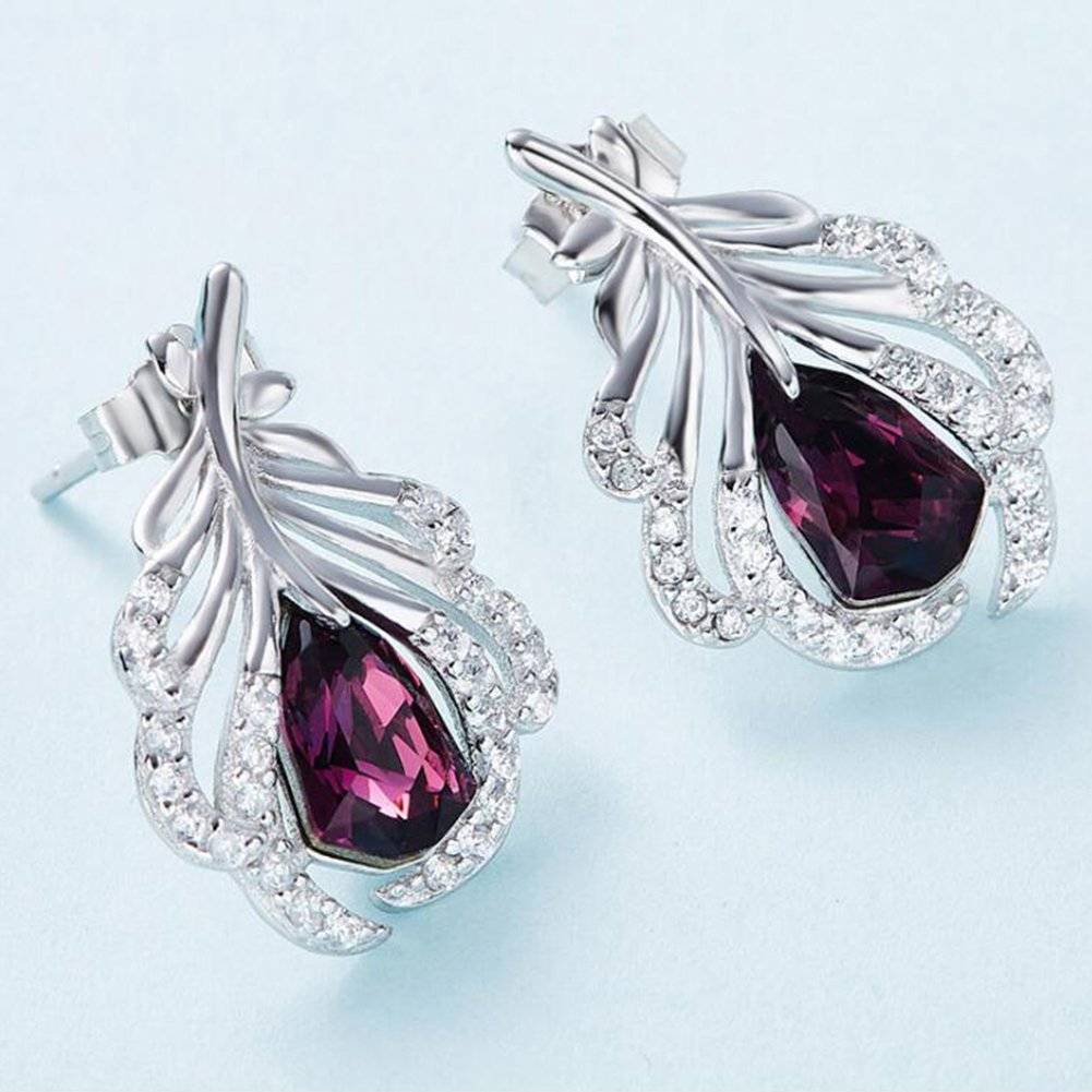 925 Sterling Silver Feather with Red Crystal Stud Earrings Using Swarovski Element Crystal Earrings