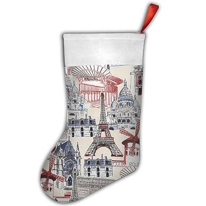 Sueño Vacaciones París francés calcetín de Navidad calcetines de Navidad rojo