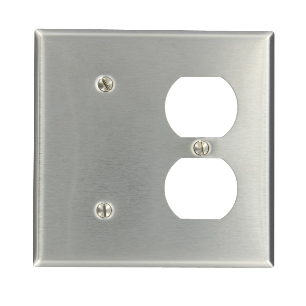 Leviton 84087-40 2-Gang 1-Duplex 1-Blank Device Combination Wallplate, Standard Size, Strap Mount, Stainless Steel