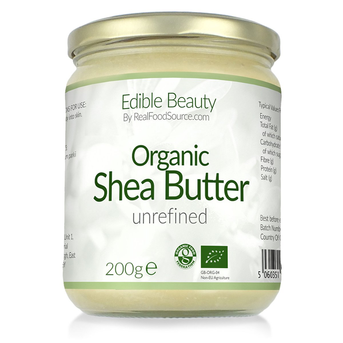 RealFoodSource Certified Organic Unredfined Edible Shea Butter 200g / 225ml