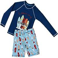 RUOGU Boys Two Piece Rash Guard Swimsuits Kids Long Sleeve UV Sun Protection Sunsuit Swimwear Sets