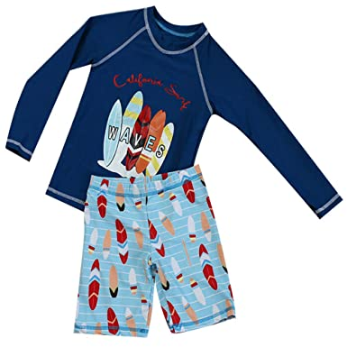 f634d9eeac Boys Two Piece Rash Guard Swimsuits Kids Long Sleeve UV Sun Protection  Sunsuit Swimwear Sets (