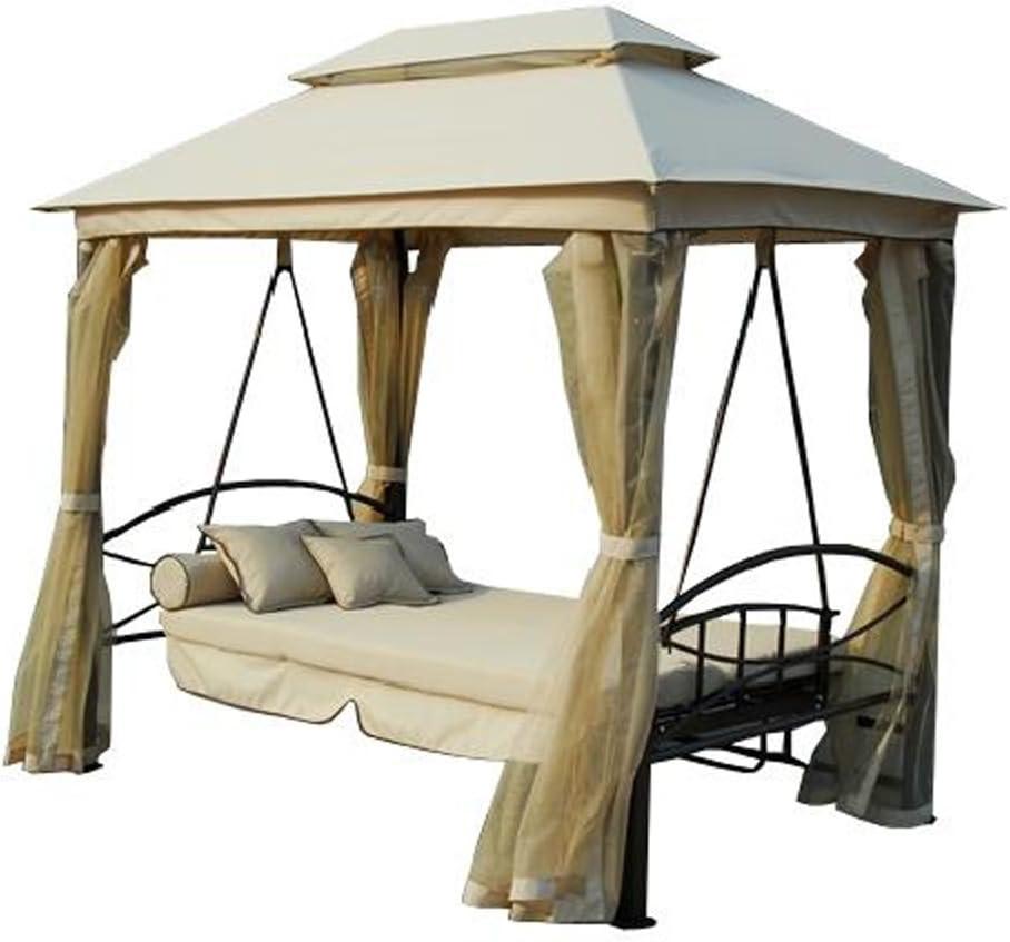 Cenador de jardín con balancín-cama para 3 personas y mosquitera: Amazon.es: Jardín