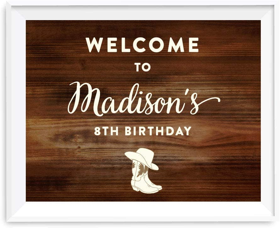 Andaz Press Personalized Birthday Party Sign, 8.5x11-inch Unframed, Welcome to Michael's 8th Birthday, Cowboy Boots, 1-Pack, Custom, for Dessert Table Decor Decorations