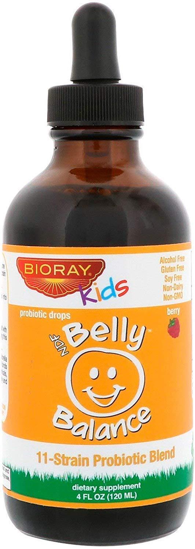 Bioray Inc Kids NDF Belly Balance 11-Strain Probiotic Blend Berry Flavor 4 fl oz 120ml