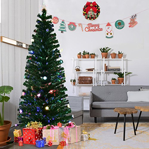 Goplus 7FT Fiber Optic Christmas Tree Pre-Lit Artificial Fireworks Spruce Tree w/ Multicolor LED Lights, Top Star & Blossom Bell Decorations Fiber Optic Trees