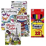 4 Pack Adult Coloring Books Designer Series 12 Colored Pencils Stress Relief Wildlife