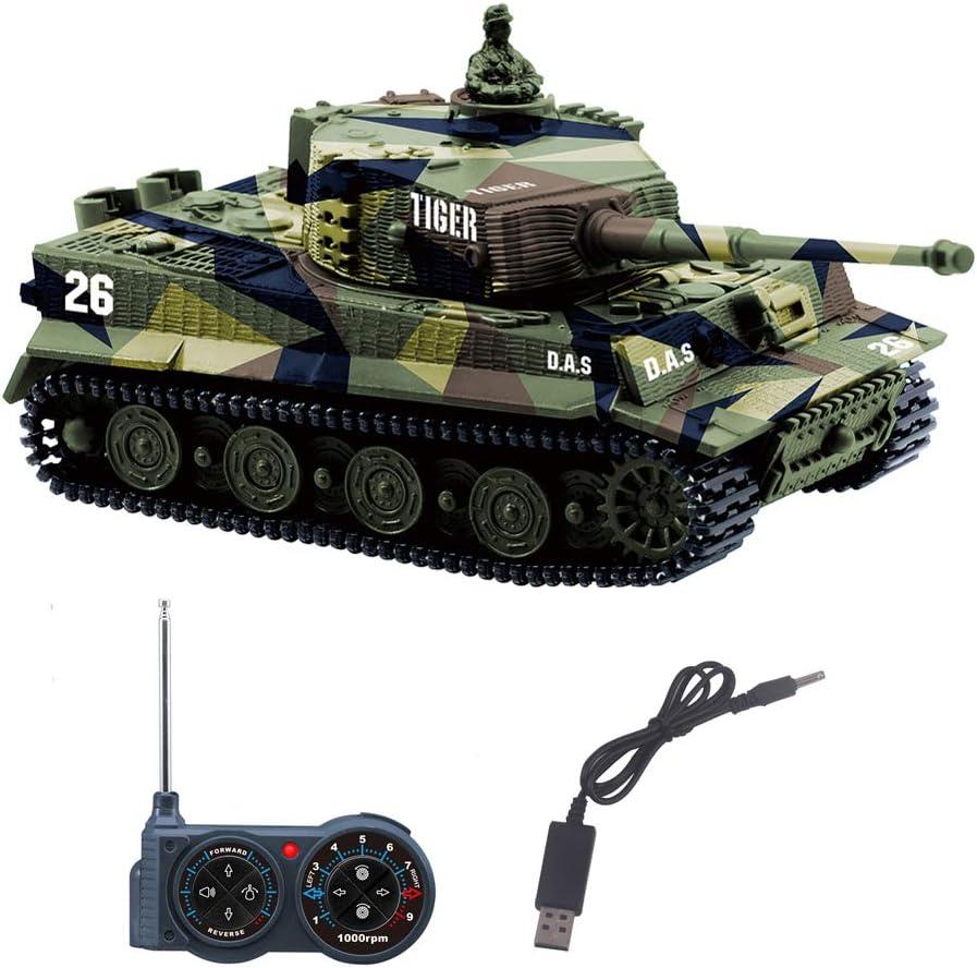 YouCute Mini RC Tank con Cable Cargador USB Control Remoto Tanque Panzer 1:72 German Tiger I con Sonido, torreta giratoria y acción de Retroceso Cuando lmanuale Italiano (Verde)