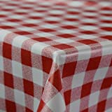 Gingham Red Wipe Clean PVC Vinyl Tablecloth Cover Protector in Width 140cm – Sold by the metre