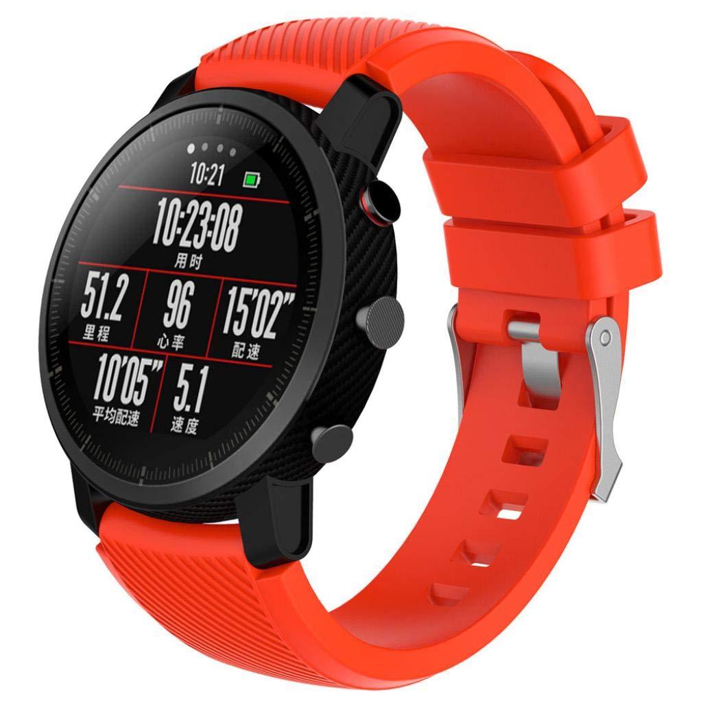 Modaworld _Correa de reloj Suave de Silicona Sports Band para HUAMI Amazfit Stratos Smart Watch 2 Correas de Reloj Inteligente Pulseras de Repuesto (Rojo, ...