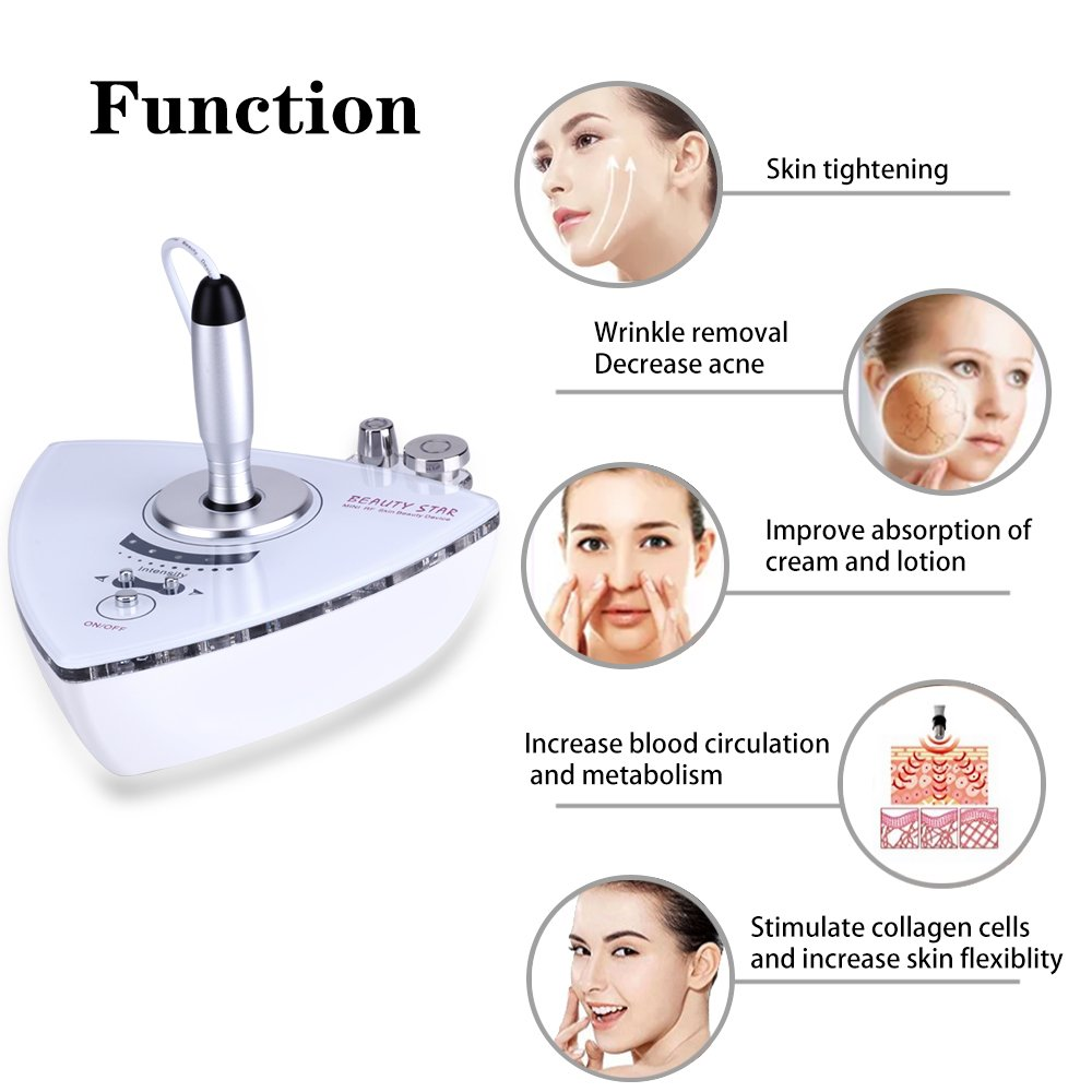 Amazon.com : Beauty Star RF Radio Frequency Facial Machine, Home Use Portable Facial Machine for Skin Rejuvenation Wrinkle Removal Skin Tightening Anti ...