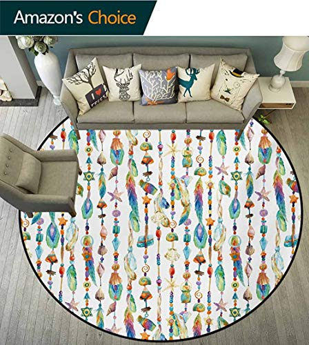 RUGSMAT Feather Modern Machine Round Bath Mat,Watercolor Style Figures with Sea Shells Nautical Boho Style Chains Pendant Pattern Non-Slip No-Shedding Kitchen Soft Floor Mat,Round-59 Inch ()