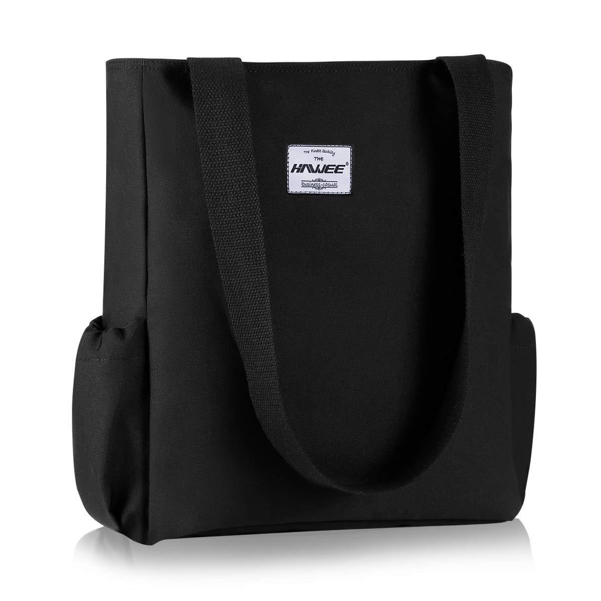 HAWEE mode dam handväska med dragkedja casual kvinnor axelväska stor shoppingväska vattentät väska för resor arbete skola vardagsliv gym strand Svart