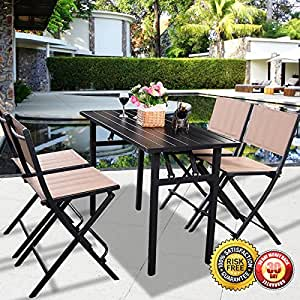 New 5 pcs patio outdoor folding chairs rect table for Patio furniture covers amazon ca