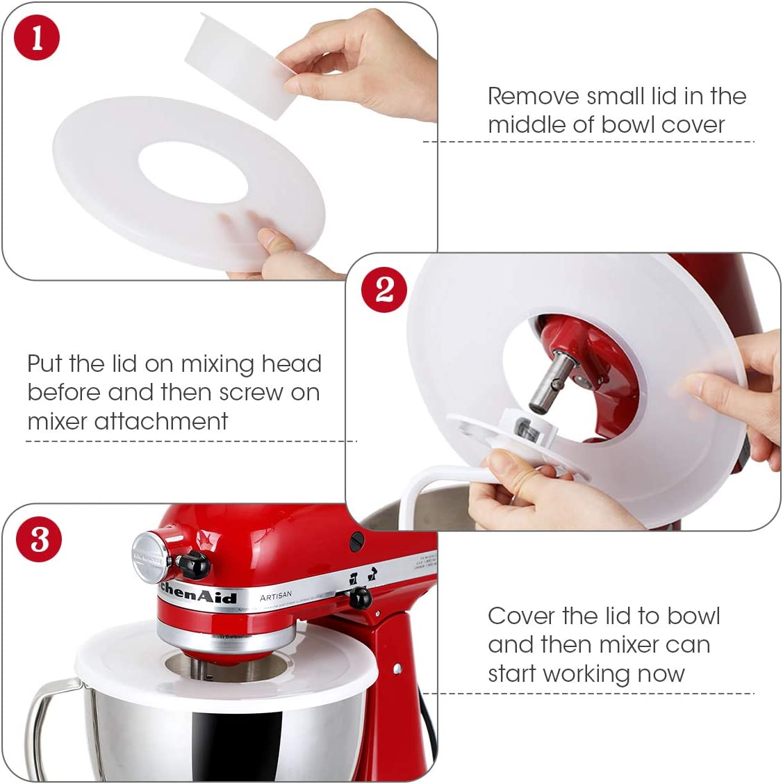 Mixers not Included Bowls Lids for KitchenAid 5-Quart Tilt-Head Stand Mixer Bowl Tilt-Head Mixer Bowl to Prevent Ingredients from Splashing Out AIEVE 2 Pack Bowl Covers for Tilt-Head Stand Mixers