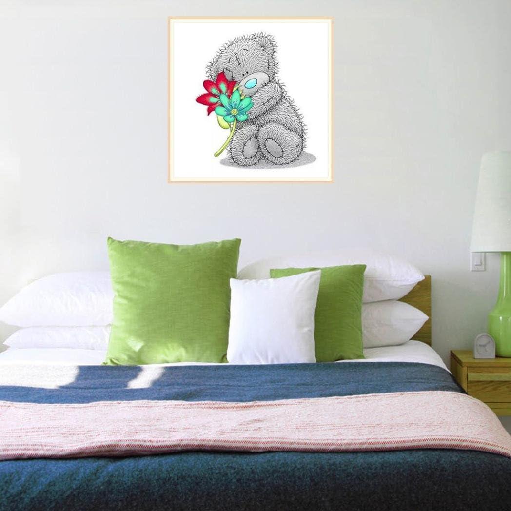 DIY 5D Diamond Painting Bear 5 Staron Hot Sale Diamond Cross Stitch Painting Number Kit 5D Diamond Crystal Rhinestone Pasted Embroidery Painting DIY Craft Home Wall Decor Rainbow Bear