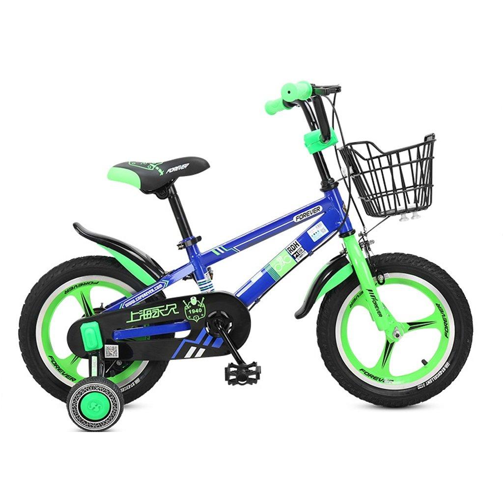 子供用自転車、4-8歳の男の子、女の子用自転車、高さ16インチ、105-135cm (Color : Green) B07D2GMKNP