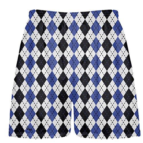 Youth Royal Blue and Black Argyle Lacrosse Shorts, Youth Lar