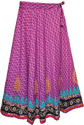 Womens Long Indian Skirt Cotton Block Printed Ethnic India Clothing (Purple)