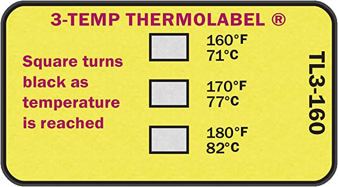 1-Temp Thermolabel 130/°F//54.4/°C Temperature Labels Pack of 24 Labels